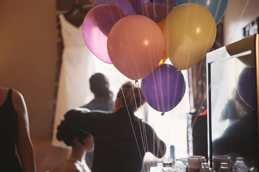 colorful balloons bridal suite